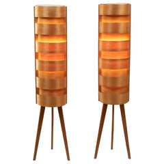 1960s Hans-Agne Jakobsson Wood Tripod Floor Lamps for AB Ellysett