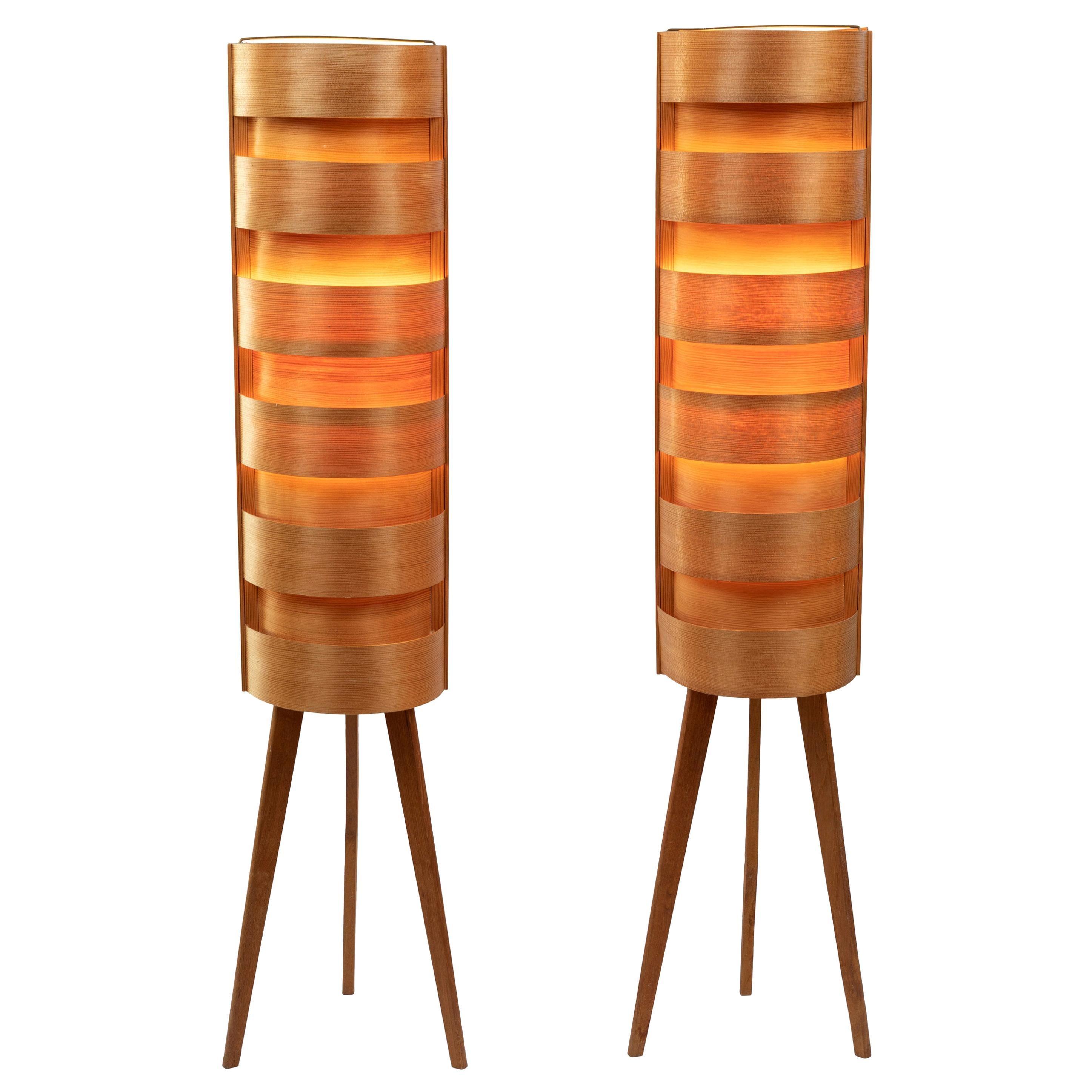 1960s Hans-Agne Jakobsson Wood Tripod Floor Lamps for AB Ellysett