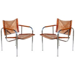 1960s Hans Eichenberger for Strassle Design Basculant Leather Chair Set of 2