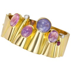 1960s Hans Hansen Sapphire, Ruby, Diamond and Gold Bangle