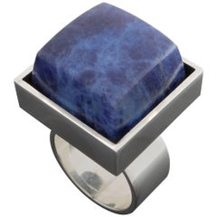 1960s Hans Hansen Scandinavian Modernist Sodalite Silver Ring
