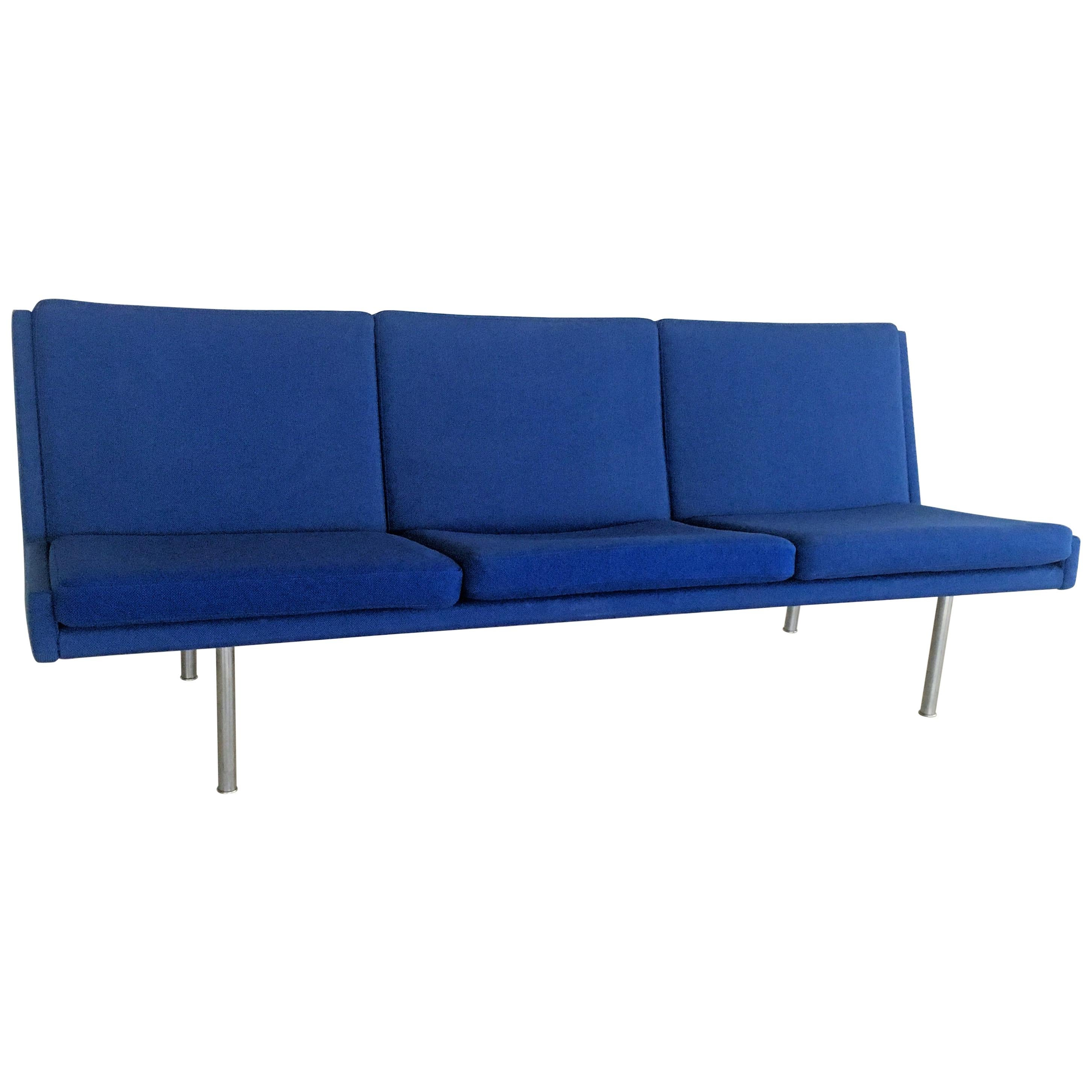 1960s Hans J. Wegner Airport Sofa in Original Blue Fabric by A.P. Stolen