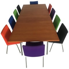 Set of Two Wegner Conference Tables in Teak and Metal with Airport Chairs