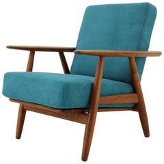 1960s Hans J. Wegner GE 240 Oak Cigar Lounge Chair for GETAMA
