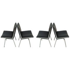 1960s Hans J. Wegner Set of Four Airport Lounge Chairs in Black by A.P. Stolen