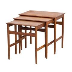 1960s Hans J. Wegner Teak Nesting Tables for Andreas Tuck