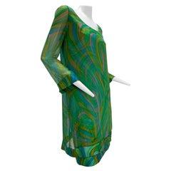 1960s Harold Levine Psychedelic Print Silk Satin Dress w/ Chiffon Overlay