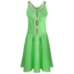1960s Harrods Emerald Green Lingerie Slip With Lace Windows