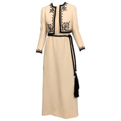 1960's Harry Algo Made in France Cream Wool Dress and Jacket Black Soutache Trim