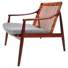 1960s Hartmut Lohmeyer Teak Easy Chair in Cane for Wilkhahn, Germany