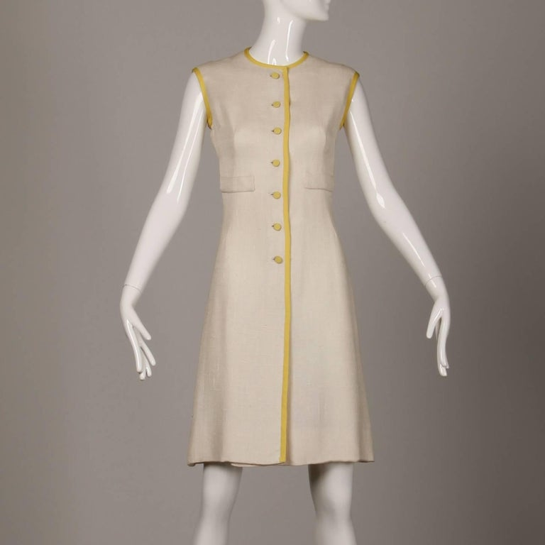 Beige 1960s Harvey Berin by Karen Stark Vintage Yellow + White Linen Sheath Dress For Sale