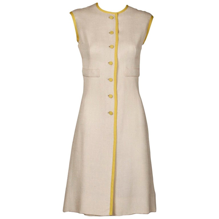 1960s Harvey Berin by Karen Stark Vintage Yellow + White Linen Sheath Dress For Sale
