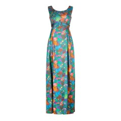 1960s Harvey Nichols Floral and Sequin Evening Dress