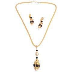 1960s Hattie Carnegie Pendant Necklace and Earrings W Rhinestones Onyx & Pearls