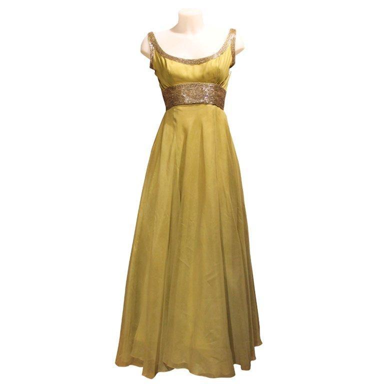 1960s Haute Couture Pierre Balmain Green Silk Chiffon Dress with Hand Bead Work