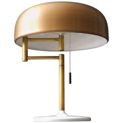 1960s Heavy Extra Large Staff Table Lamp with Swivel Joint and Brass Shade