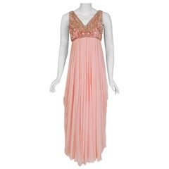 1960's Helen Rose Beaded Rhinestone Pink Chiffon Draped Grecian Goddess Dress