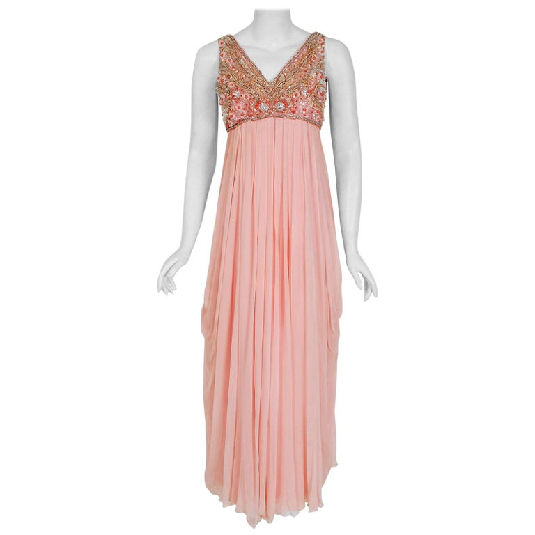 1960's Helen Rose Beaded Rhinestone Pink Chiffon Draped Grecian Goddess Dress For Sale