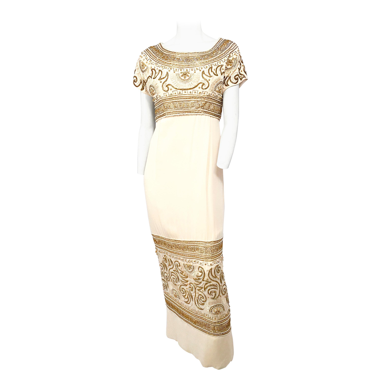 1960s Helen Rose Egyptian Cream Beaded Evening Gown