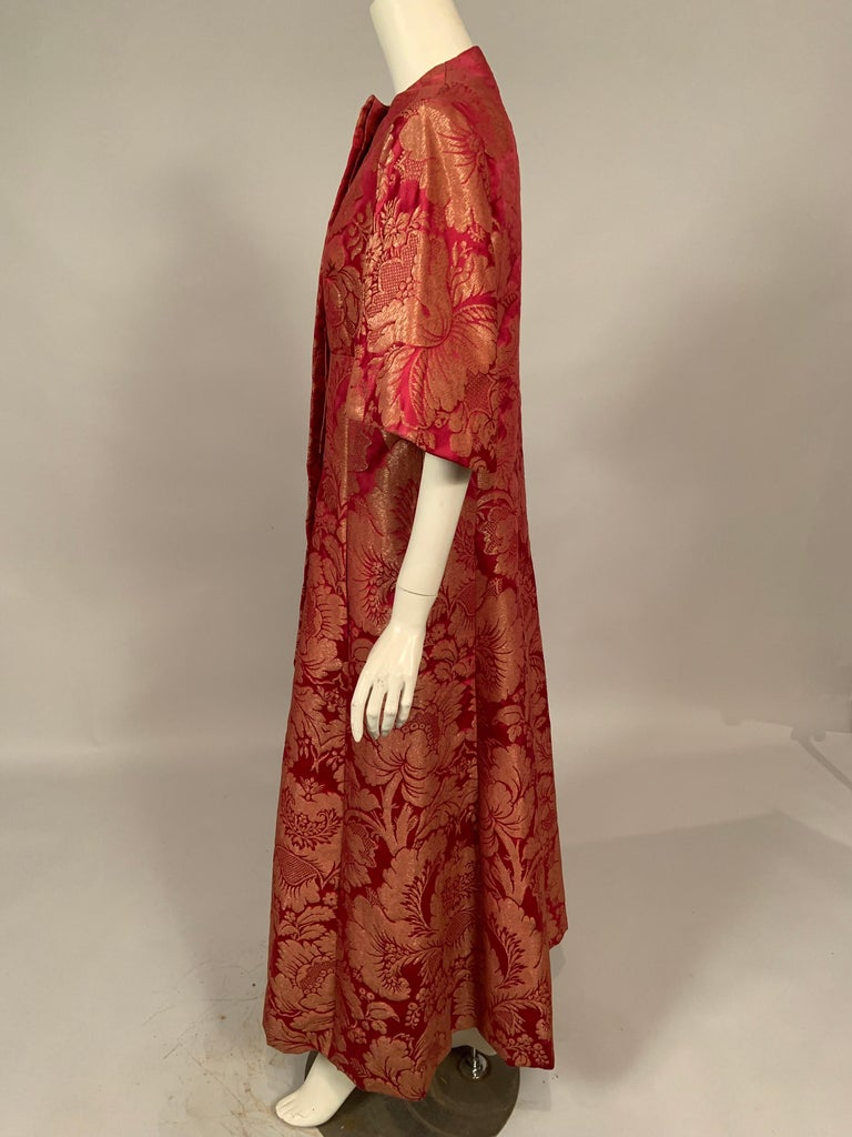 1960's Helena Barbieri Raspberry Red and Woven Metallic Gold Dress and Coat For Sale 6