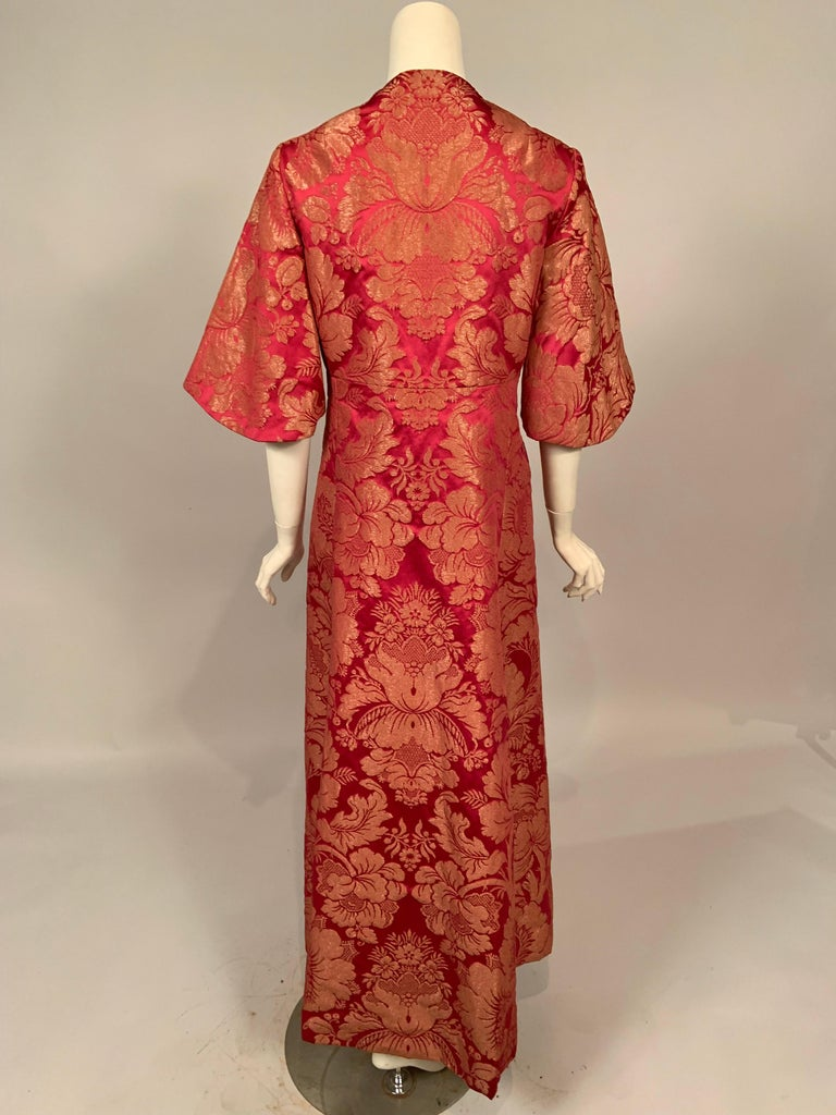 1960's Helena Barbieri Raspberry Red and Woven Metallic Gold Dress and Coat For Sale 7