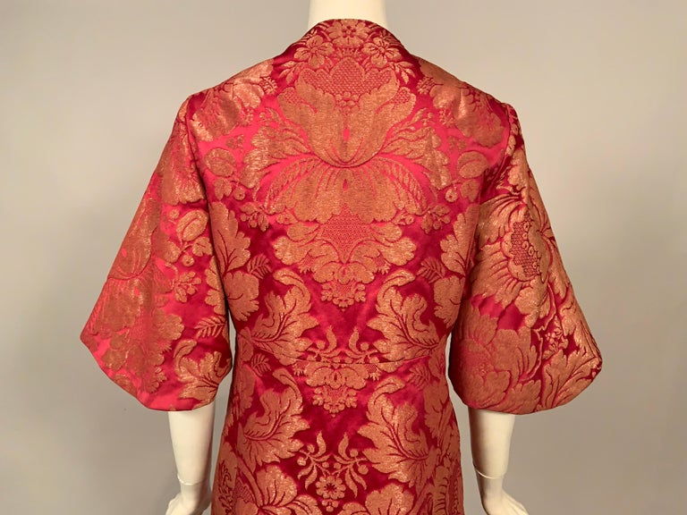 1960's Helena Barbieri Raspberry Red and Woven Metallic Gold Dress and Coat For Sale 8