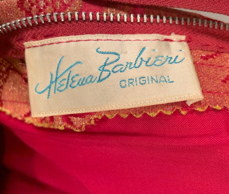 1960's Helena Barbieri Raspberry Red and Woven Metallic Gold Dress and Coat For Sale 11