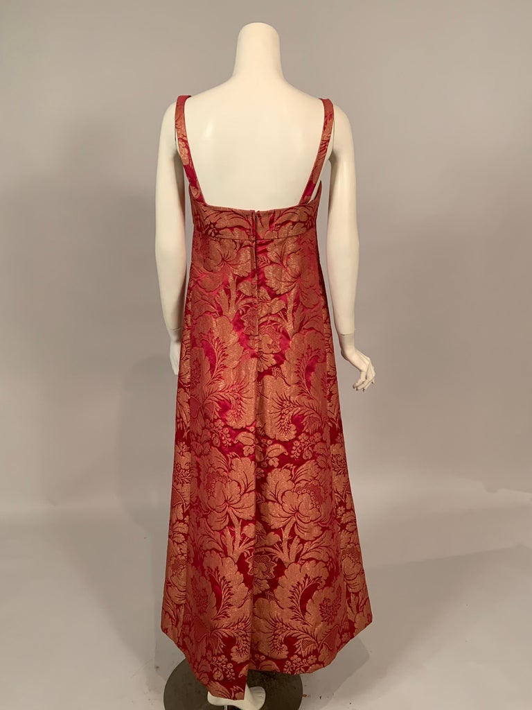1960's Helena Barbieri Raspberry Red and Woven Metallic Gold Dress and Coat For Sale 1