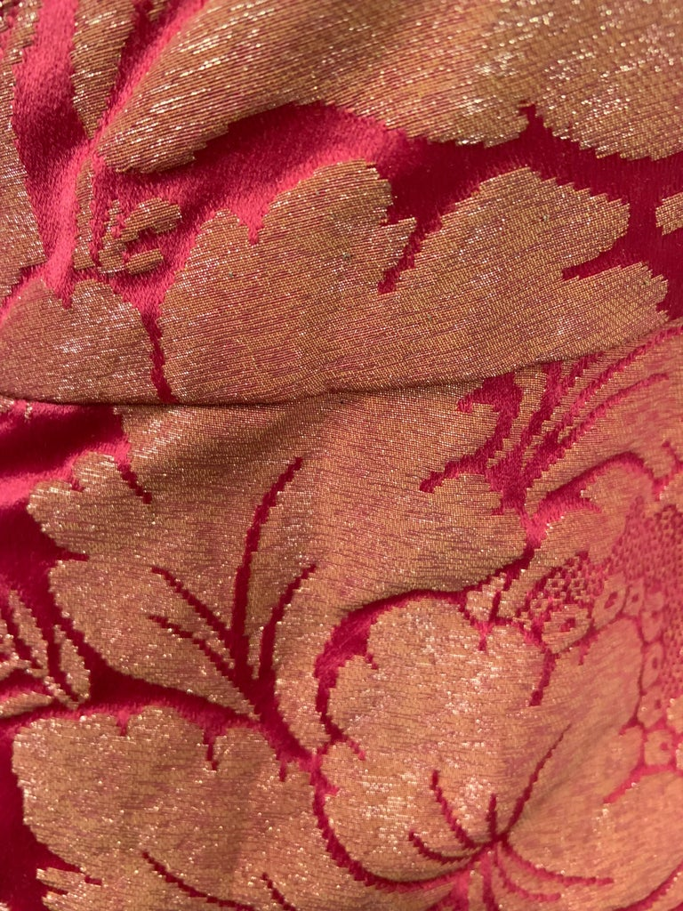 1960's Helena Barbieri Raspberry Red and Woven Metallic Gold Dress and Coat For Sale 2