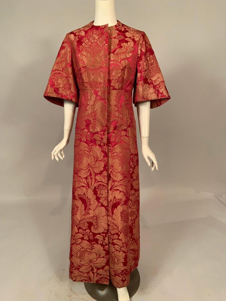 1960's Helena Barbieri Raspberry Red and Woven Metallic Gold Dress and Coat For Sale 3