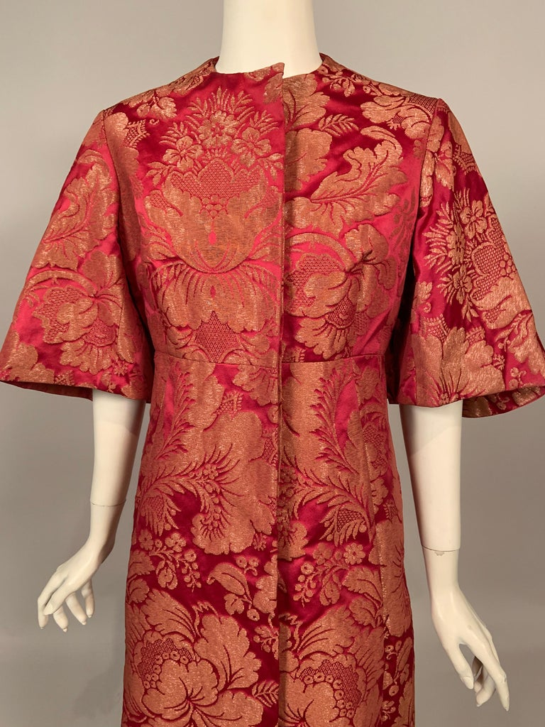 1960's Helena Barbieri Raspberry Red and Woven Metallic Gold Dress and Coat For Sale 4