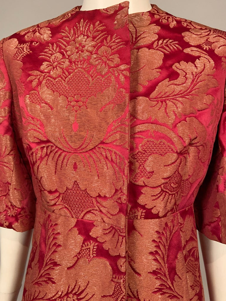 1960's Helena Barbieri Raspberry Red and Woven Metallic Gold Dress and Coat For Sale 5