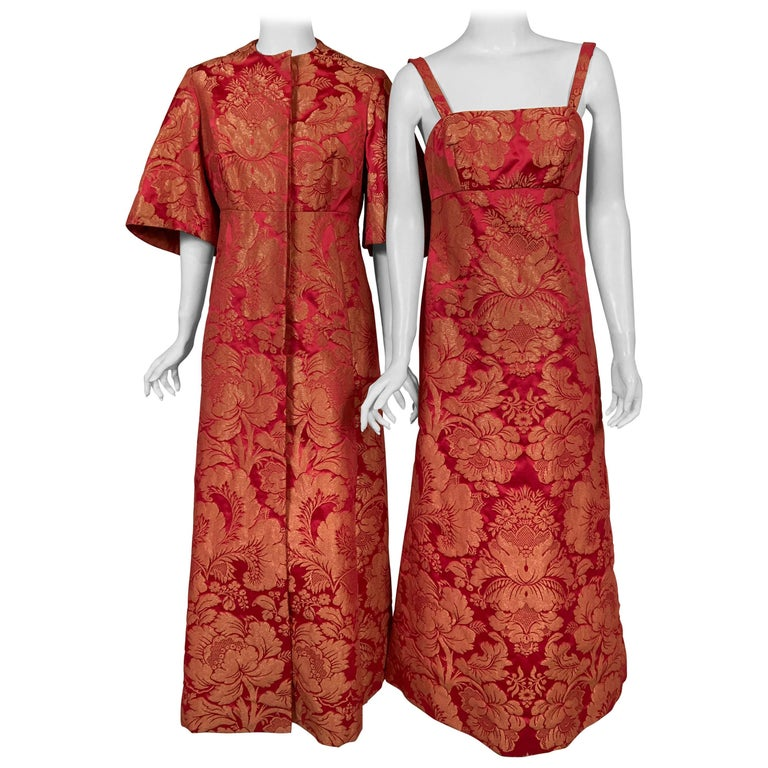 1960's Helena Barbieri Raspberry Red and Woven Metallic Gold Dress and Coat For Sale