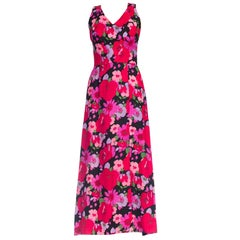 1960S HELENE OF FRANCE Black & Pink Linen Large Floral Maxi Dress With Boning C