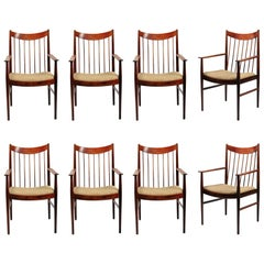 1960s Helge Sibast Set of Two Rosewood Armchairs and Six Rosewood Dining Chairs