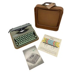 1960s Hermes Baby Typewriter Mint Green Color with Paperwork and Key