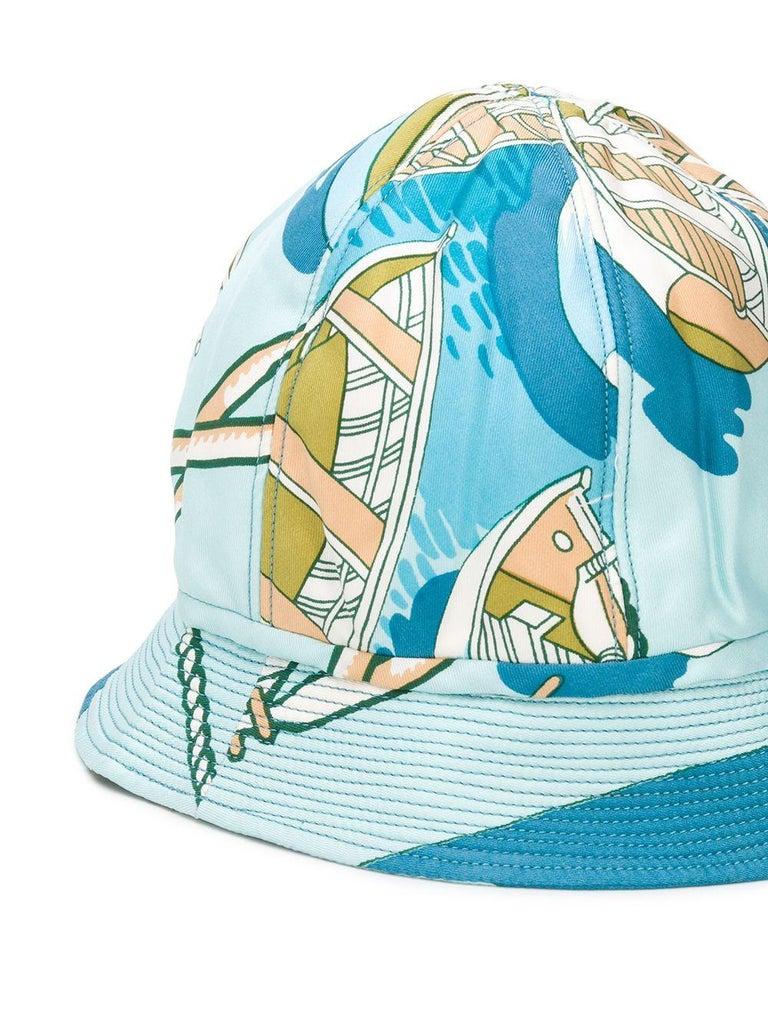 Gray 1960s Hermes Blue Silk Bucket Hat Cap For Sale