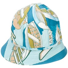 1960s Hermes Blue Silk Bucket Hat Cap