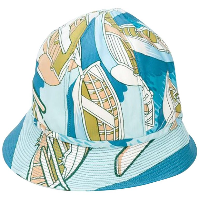 1960s Hermes Blue Silk Bucket Hat Cap For Sale