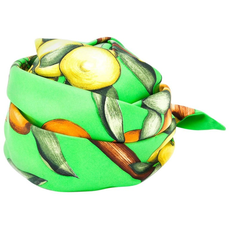 1960s Hermes Green Silk Turban Cap For Sale