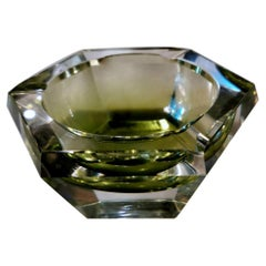 Val Saint Lambert Hexagonal Ashtray in Green Shaded Crystal