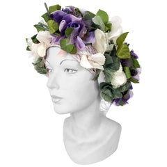 1960's High-Fashion Violet and Cream Floral Hat