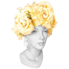 1960s High-Fashion Yellow Floral Hat