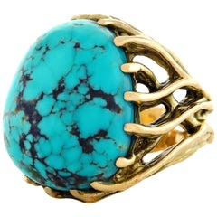 1960s Hippie Jewelry Turquoise Set Gold Ring