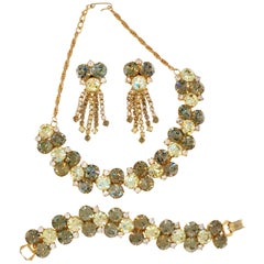 1960s Hobé Green Rhinestone Parure with Necklace, Bracelet & Earrings, Signed