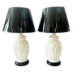 1960s Hollywood Regency Ceramic Glaze Ginger Jar Faux Bamboo Lamps