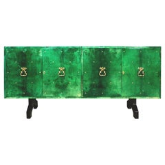 1960s Hollywood Regency Emerald Green Goatskin Credenza by Aldo Tura