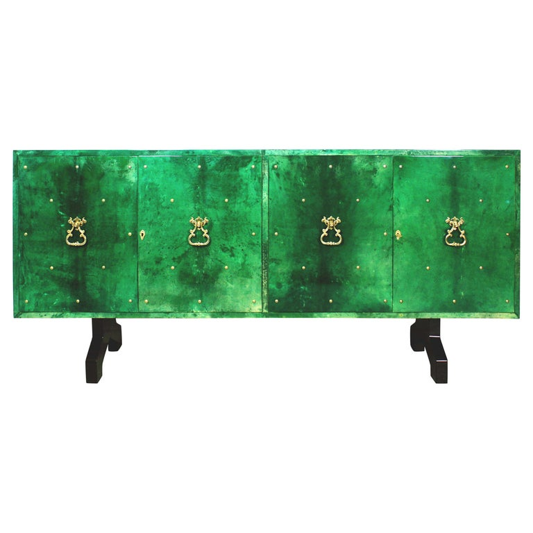 1960s Hollywood Regency Emerald Green Goatskin Credenza by Aldo Tura For Sale