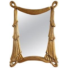1960s Hollywood Regency Gilt Draped Swag Large Wall Mirror
