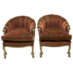 1960s Hollywood Regency Italian Carved Pine Tassel and Rope Tub Chairs, a Pair